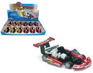 "Turbo Go Cart Toy Car Box Of 12 Pull Back 5"" By Kinsmart Kids Fun KS5102"