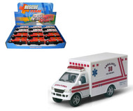 "Rescue Team Ambulance Toy Car Box Of 12 Pull Back 5"" By Kinsmart Kids Fun KS5259"