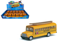 """School Bus With Wooden Surf Board Toy Car Box Of 12 Pull Back 5"""" By Kinsmart Kids Fun KS5107"""