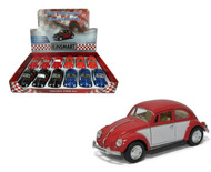 "1967 Volkswagen Beetle Bug Two Tone Box Of 12 Pull Back 5"" 1/32 Scale By Kinsmart KT5373"
