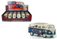 "1962 Volkswagen Bus With Flowers Box Of 6 7"" 1/24 Scale By Kinsmart KT7005"