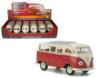 "1962 Volkswagen Bus Box Of 6 7"" 1/24 Scale Diecast Model By Kinsmart KT7005 D"