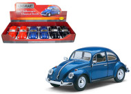 "1967 Volkswagen Bug Classic Beetle Box Of 6 7"" 1/24 Scale By Kinsmart KT7002"