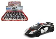 "Lamborghini Sesto Elemento Police Toy Car Box Of 12 Pull Back 5"" 1/38 Scale By Kinsmart KT5359"