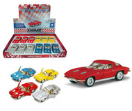 "1963 Chevy Corvette Stingray Toy Car Box Of 12 Pull Back 5"" 1/36 Scale By Kinsmart KT5358"