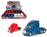 "Kenworth T700 Semi Truck Toy Box Of 12 Pull Back 5"" 1/68 Scale By Kinsmart KT5357"