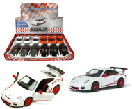 "2010 Porsche 911 GT3 RS Toy Car Box Of 12 Pull Back 5"" 1/36 Scale By Kinsmart KT5352"