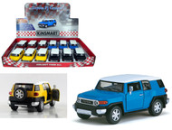 """Toyota FJ Cruiser Toy Car Box Of 12 Pull Back 5"""" 1/36 Scale By Kinsmart KT5343"""