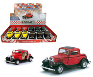 "1932 Ford 3 Window Coupe Toy Car Box Of 12 Pull Back 5"" 1/34 Scale By Kinsmart KT5332"