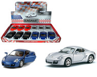 """Porsche Cayman S Toy Car Box Of 12 Pull Back 5"""" 1/34 Scale By Kinsmart KT5307"""