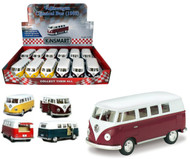 "1962 Volkswagen Bus Toy Car Box Of 12 Pull Back 5"" 1/32 Scale By Kinsmart KT5060"
