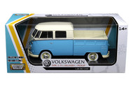 Volkswagen Type 2 T1 Double Cab Pickup Truck Blue 1/24 Scale Diecast Model By Motor Max 79343