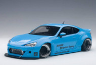Toyota 86 Rocket Bunny Metallic Sky Blue Black Wheels 1/18 Scale Diecast Car Model By AUTOart 78758