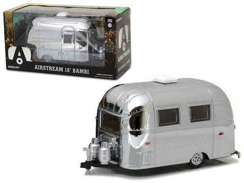 Airstream Bambi Sport Trailer CHROME 1/24 Scale Diecast Model By Greenlight 18236