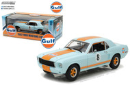 1967 Ford Mustang Coupe Gulf Oil Light Blue & Orange Stripes 1/18 Scale Diecast Car Model By Greenlight 12989