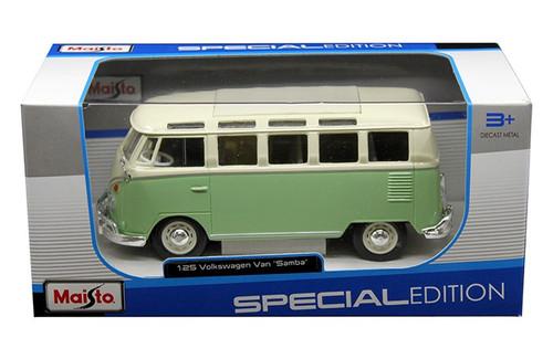 Volkswagen Van Samba Bus VW Green 1/24 Scale cast Car Model By ...