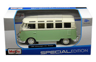 Volkswagen Van Samba Bus VW Green 1/24 Scale Diecast Car Model By Maisto 31956