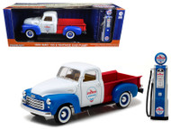 1950 GMC 150 Pickup Truck Chevron With Vintage Gas Pump 1/18 Scale Diecast Model By Greenlight 12992