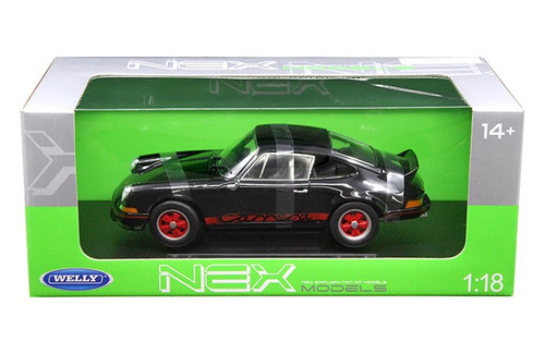 1973 Porsche 911 Carrera RS Black 1/18 Scale Diecast Car Model By Welly 18044