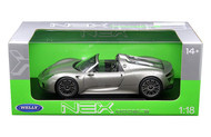 Porsche 918 Spyder No Top Silver 1/18 Scale Diecast Car Model By Welly 18051