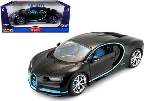 2016 Bugatti Chiron Black 1/18 Scale Diecast Car Model By Bburago 11040