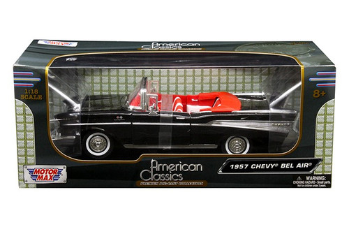 1957 Chevrolet Bel Air Convertible Black 1/18 Scale Diecast Car Model By Motor Max 73175