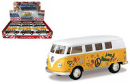 1962 Volkswagen Bus Peace & Love Box Of 12 1/32 Scale By Kinsmart KT5060DF