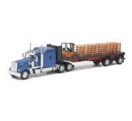 Kenworth W900 Flatbed With ForkLift & Pallets Semi Truck & Trailer 1/32 Scale By Newray 10263