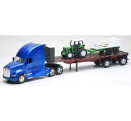 Kenworth T700 Flatbed With Tractor & Trailer Semi Truck 1/32 Scale By Newray 10383