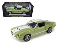 1967 Ford Shelby GT 500 Light Green & White Stripes 1/18 Scale Diecast Car Model By Shelby Collectibles SC 186