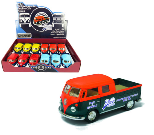 1963 Volkswagen Bus Double Cab Pickup Delivery Services BOX Of 12 Kinsmart 5396