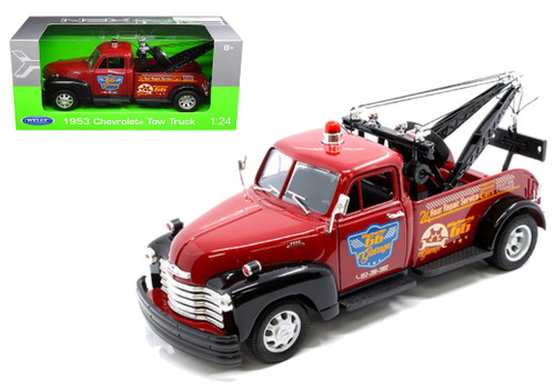 1953 Chevrolet Tow Truck Wrecker Red 1/24 Scale Diecast Car Model By Welly 22086