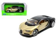 Bugatti Chiron 2 Tone Gold & Black 1/24 Scale Diecast Car Model By Welly 24077