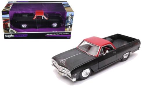 1965 Chevrolet El Camino Matt Black Outlaws 1/25 Diecast Model By Maisto 32517