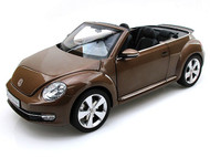 Kyosho 1/18 Scale 2012 Volkswagen New Beetle Convertible Toffee Brown Metallic Diecast Car Model 08812