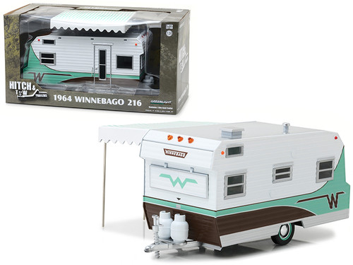 1964 Winnebago 216 Travel Trailer Green 1/24 Scale Diecast Model By Greenlight 18430