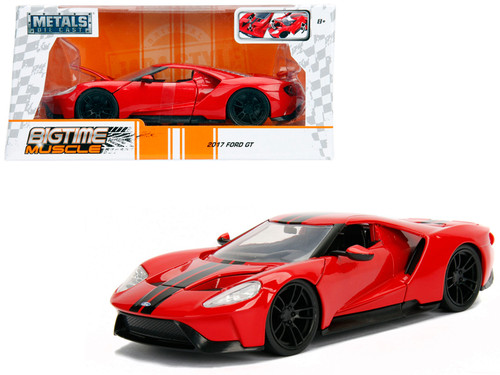 Ford Gt Red With Black Stripes   Scalecast Car Model By Jada