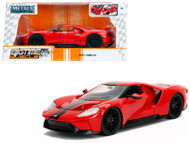 2017 Ford GT Red With Black Stripes 1/24 Scale Diecast Car Model By Jada 99391