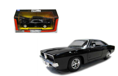 1969 Dodge Charger R/T Black 1/24 Scale Diecast Car Model By Newray 71895