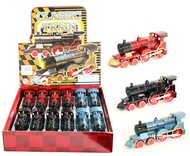 """Classic Train With Lights & Sound Box Of 12 6"""" Long Pull Back Action Assortment"""