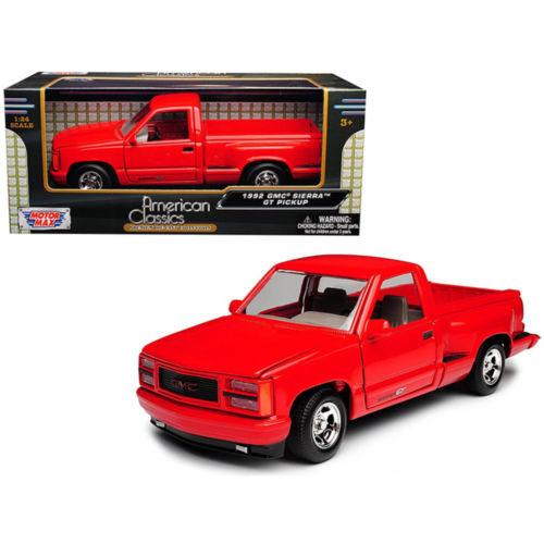 1992 GMC Sierra GT Red Pickup Truck 1/24 Scale Diecast Model By Motor Max 73204