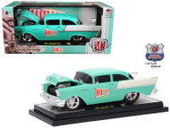 1957 Chevrolet 150 Holley Sea Foam Green & India Ivory 1/24 Scale By M2 Machines 40300-62B