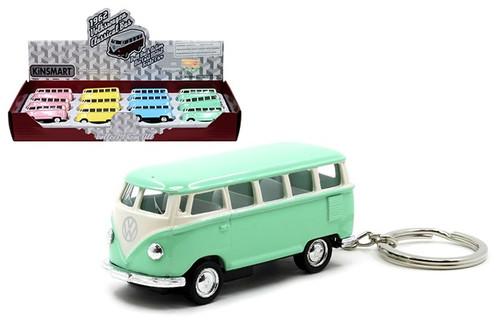 1962 Volkswagen Classic Bus Samba Keychain Box Of 12 1/64 Scale By Kinsmart KT2546DK