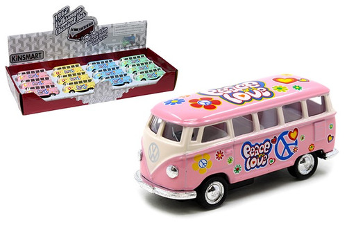 1962 Volkswagen Classic Bus Samba Peace Love Box Of 12 1/64 Scale By Kinsmart KT2546DF