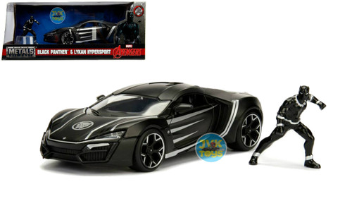 Lykan Hypersport With Black Panther Figure Hollywood Rides 1/24 Scale Diecast Car Model By Jada 99723