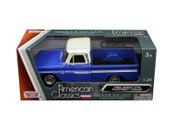 1966 Chevrolet C-10 Fleetside Pickup Truck Blue White White 1/24 Scale Diecast Model By Motor Max 73355