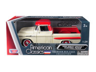 1958 Chevrolet Apache Fleetside Pick Up Truck Beige & Red 1/24 Scale Diecast Model By Motor Max 79311