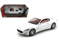Maserati Gran Turismo White 1/24 Scale Diecast Car Model By Motor Max 73361