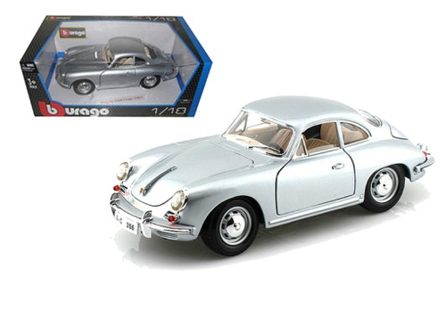 1961 Porsche 356B Coupe Silver 1/18 Scale Diecast Car Model By Bburago 12026