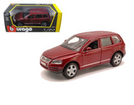 Volkswagen Touareg SUV Burgundy 1/24 Scale Diecast Car Model By Bburago 22015